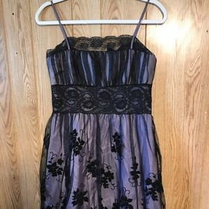 Purple Dress that has black lace overlay